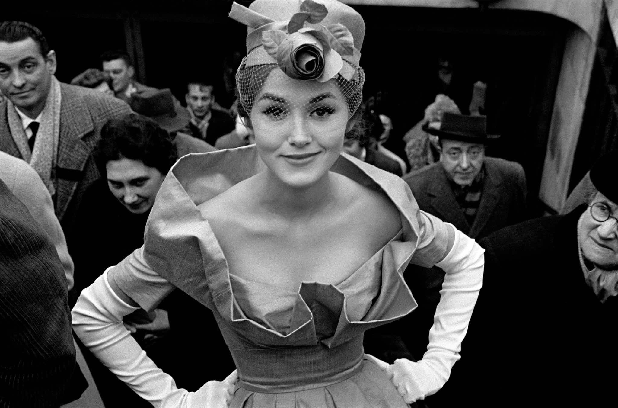 1959, Paris, for Jours de France, Monique Dutto at métro exit